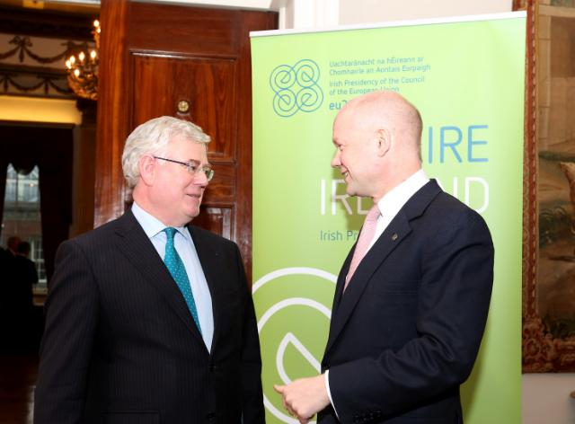 GYMNICH Arrivals - Eamon Gilmore & William Hague
