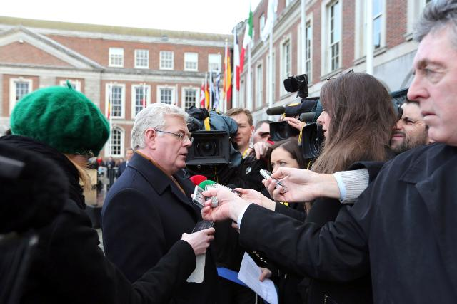Flag raising ceremony at Dublin Castle